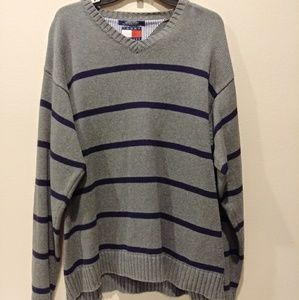 Men's Striped Tommy Hilfiger Sweater Size Large